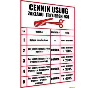 ŚMIESZNY ŻARTOBLIWY CENNIK - ZAKŁAD FRYZJERSKI